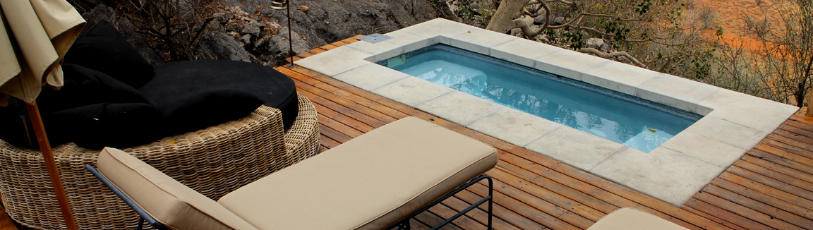 Deluxe chalet balcony with private plunge pool at Dolomite resort Namibia Namibia run by NWR