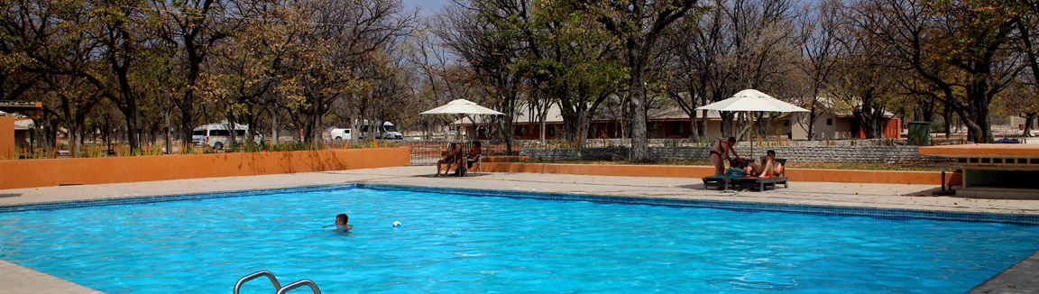 Sparkling blue swimming pool at Halali, just one of the facilities at Halali NWR Restcamp.