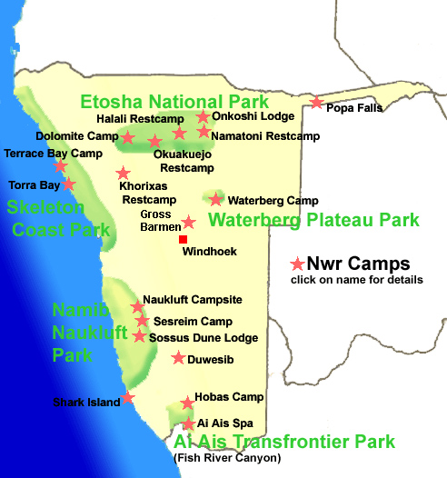 Namibia Wildlife Resorts Location Map
